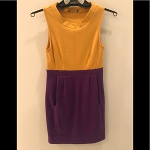 Colorblock purple & yellow sundress with pockets